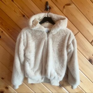 TopShop Fuzzy Bomber Hoodie Zip Up Jacket Extra Sm